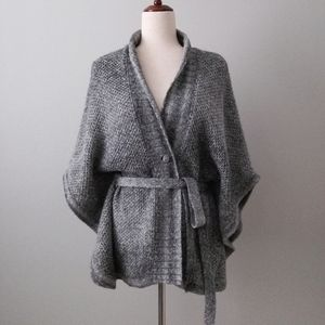 DKNY Jeans Belted Gray Cardigan Sweater Med